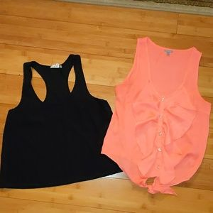 Bundle 2 tank tops peach and black xs x small